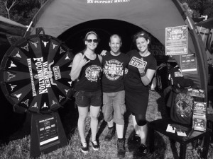 Bloodstock 2015 Wacken Foundation Team with our Merch queen Anke